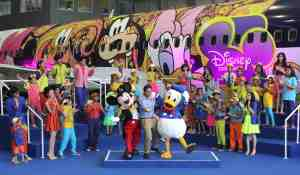 Disney's beloved Mickey Mouse and Donald Duck along with the popular cast from Disney Channel india, winners of Jet Set 2 and designer Shantanu on the occasion of unveil of the Disney brand