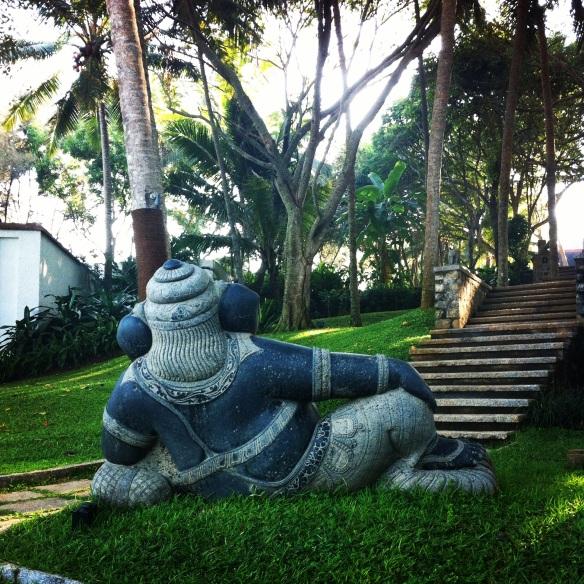 Reclining Ganesha on the lawns of Niraamaya retreats